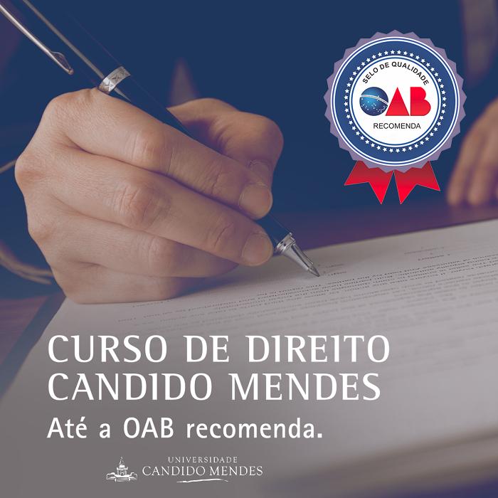 Universidade recebe selo de recomendação da OAB, concedido às melhores instituições do país