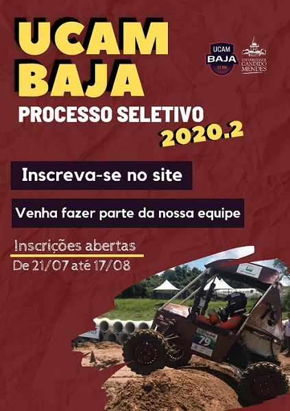Processo seletivo 2020.2 da Equipe UCAM Baja com inscrições abertas